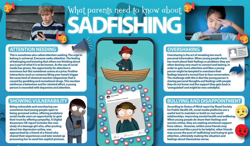 'Sadfishing' is described as a behavioural trend where people make exaggerated claims about their emotional problems to generate sympathy and attention. The term was created at the beginning of the year by a blogger using the term to describe certain celebrities who embellish their emotional difficulties to generate sympathy and gain more followers. The term has now gained traction and is seen as a growing trend on social media. The challenge with sadfishing is that sometimes real problems can become overlooked or young people can even be bullied for having shared their problems online.