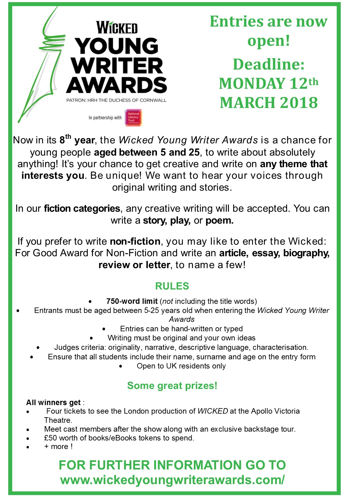 Wicked young writer comp 2018